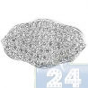 18K White Gold 0.65 ct Diamond Flower Shaped Womens Oval Ring