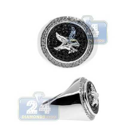 14K Gold 0.82 ct Black White Diamond Eagle Mens Ring