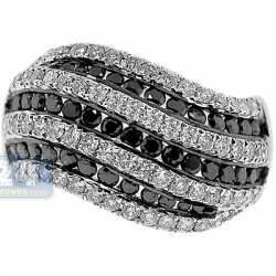 14K Gold 1.88 ct Black White Diamond Wave Womens Ring