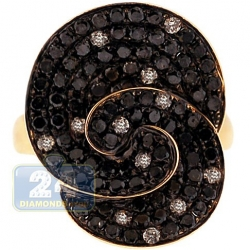 14K Yellow Gold 1.93 ct Black Diamond Womens Flower Cocktail Ring