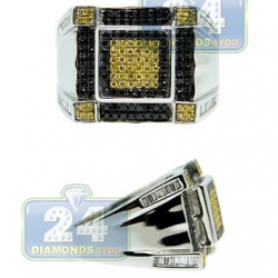 14K Gold 1 ct White Yellow Black Diamond Mens Square Ring