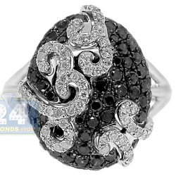 14K White Gold 1.73 ct Black Diamond Multi Swirl Womens Ring
