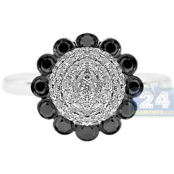 14K White Gold 1.75 ct Black Diamond Sunflower Womens Ring