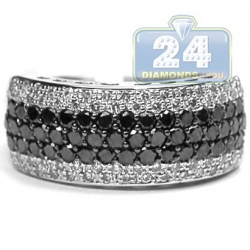 14K Gold 1.50 ct Black White Diamond Womens Band Ring