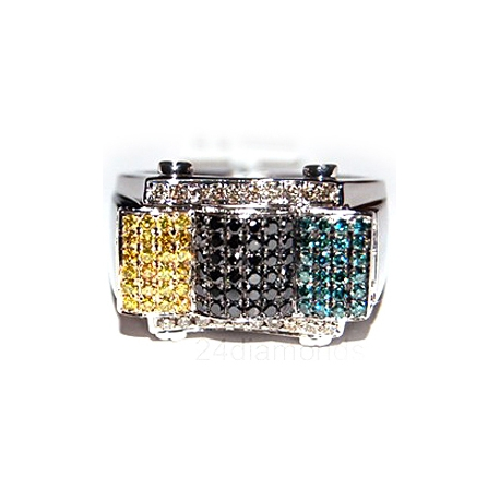 14K White Gold 1.10 ct Multicolored Diamond Mens Ring