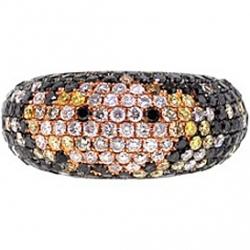 14K Rose Gold 2.84 ct Multicolored Diamond Womens Mosaic Ring