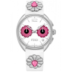F235014747 Fendi Momento Flowerland Chronograph White Watch