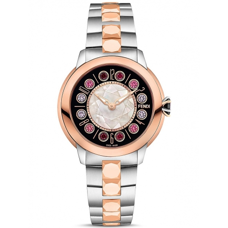 F121221500T01 Fendi IShine Black Dial Two Tone Rose 33mm Watch