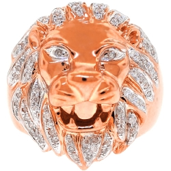 Mens Diamond Lion Head Pinky Signet Ring Solid 14K Rose Gold