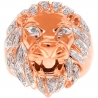 Mens Diamond Lion Head Pinky Ring 14K Rose Gold 0.45 Carat