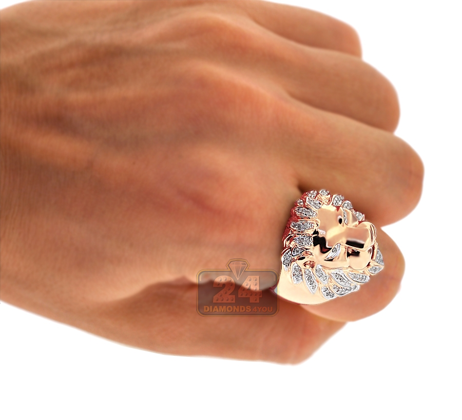 Mens Diamond Lion Head Pinky Ring 14k Rose Gold 0 45 Carat