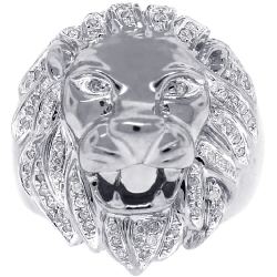 Mens Diamond Lion Head Pinky Signet Ring Solid 14K White Gold