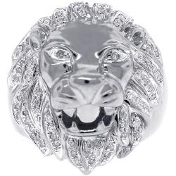 14K White Gold 0.44 ct Diamond Lion Head Mens Ring