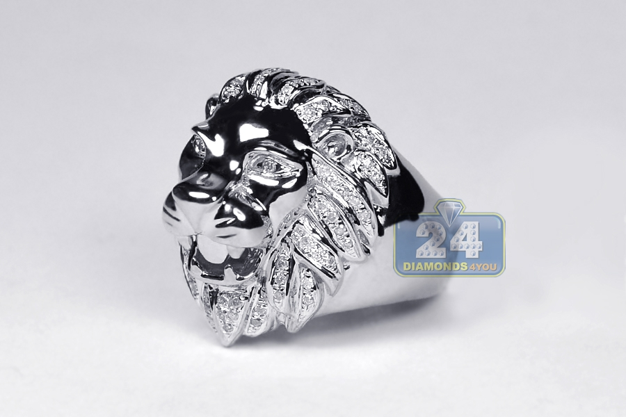ring aged in product normal lion jewelry metallic metal for with rings men head gucci lyst