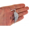 Mens Diamond Angel Wing Pendant Solid 14K White Gold 1.72ct