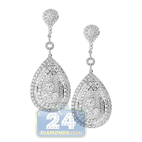 Womens Diamond Dangle Earrings 14K White Gold 15.02 ct 2.75""