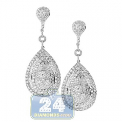14K White Gold 15.02 ct Diamond Womens Dangle Earrings