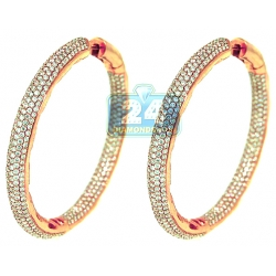 14K Rose Gold 14.42 ct Diamond Womens Hoop Earrings 2.25 Inch