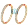 Womens Diamond Hoop Earrings 14K Rose Gold 14.42 ct 2 1/4 Inch