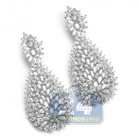 Womens Marquise Diamond Dangle Earrings 18K White Gold 15.80 ct
