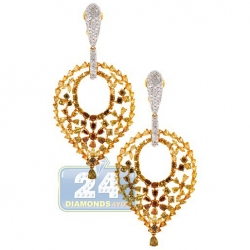 18K Yellow Gold 19.77 ct Fancy Diamond Womens Dangle Earrings