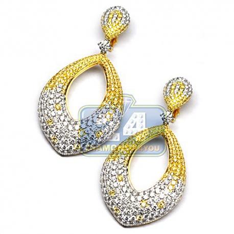 Womens Fancy Diamond Dangle Earrings 18K Yellow Gold 16.28 ct