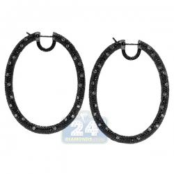 Womens Black Diamond Oval Hoop Earrings 18K Gold 2.25 Inches
