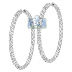 14K White Gold 10.66 ct Diamond Womens Round Hoop Earrings