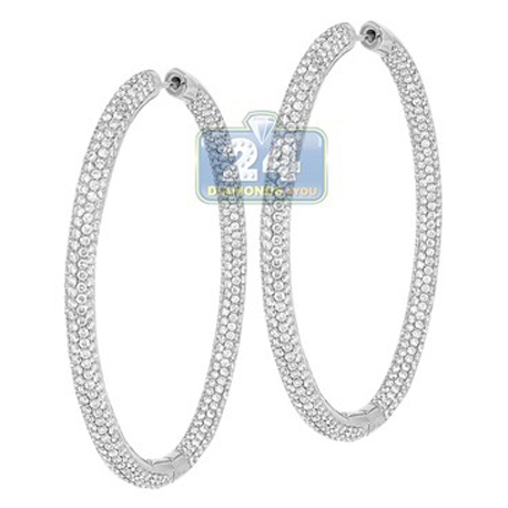 Womens Diamond Round Hoop Earrings 14K White Gold 10.66 ct 2.1""