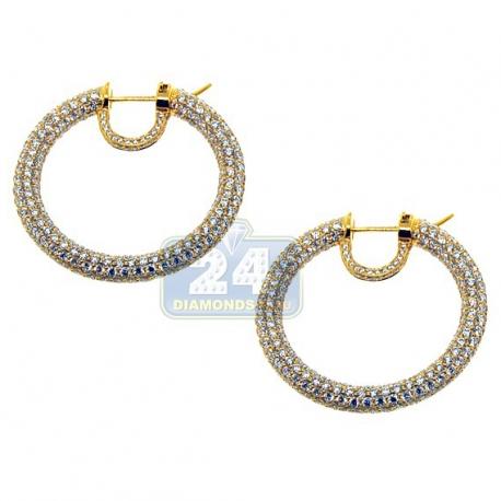 Womens Diamond Round Hoop Earrings 18K Yellow Gold 11.81 ct