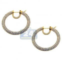 18K Yellow Gold 11.81 ct Diamond Womens Round Hoop Earrings