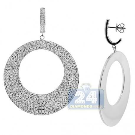 Womens Diamond Round Dangle Earrings 18K White Gold 11.45 ct