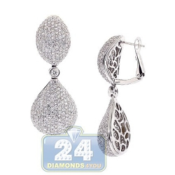 14K White Gold 9.10 ct Diamond Womens Teardrop Dangle Earrings