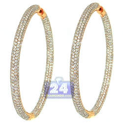 14K Rose Gold 8.28 ct Diamond Womens Hoop Earrings 2.25 Inch
