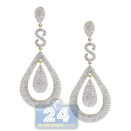 Womens Diamond Teardrop Earrings 14K Yellow Gold 12.08 ct 2.75""