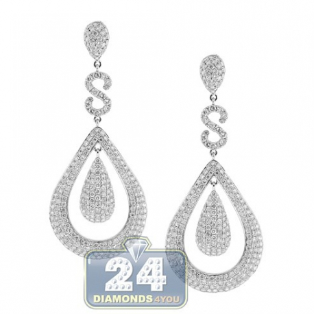 Womens Diamond Teardrop Earrings 14K White Gold 12.08 ct 2.75""