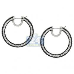 18K White Gold 13.15 ct Black Diamond Round Hoop Earrings