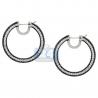 Womens Black Diamond Round Hoop Earrings 18K Gold 13.15 Carat