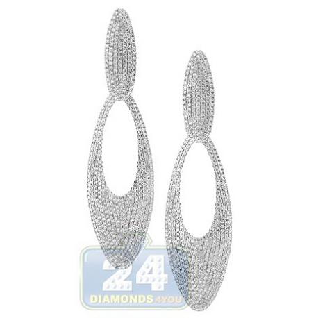 Womens Diamond Open Oval Drop Earrings 18K White Gold 5.90 ct
