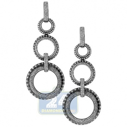 Black 18K Gold 4.52 ct Diamond Womens Circle Drop Earrings