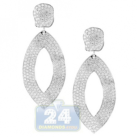 Womens Diamond Waved Dangle Earrings 14K White Gold 7.41 Carat