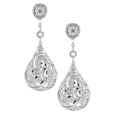 Womens Diamond Openwork Dangle Earrings 14K White Gold 6.54 ct