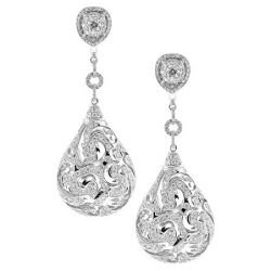 14K White Gold 6.54 ct Diamond Womens Dangle Earrings