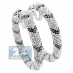 14K White Gold 17.90 ct Diamond Zebra Hoops Earrings 1 5/8 Inch