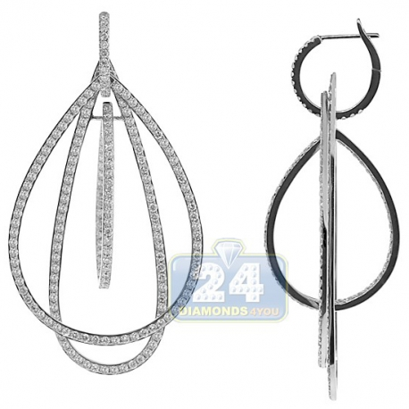Womens Diamond Open Dangle Earrings 18K White Gold 5.74 Carat