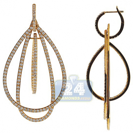 Womens Diamond Open Multi Drop Earrings 18K Yellow Gold 5.78 ct