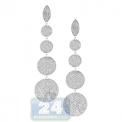 18K White Gold 4.73 ct Diamond Graduated Circle Dangle Earrings