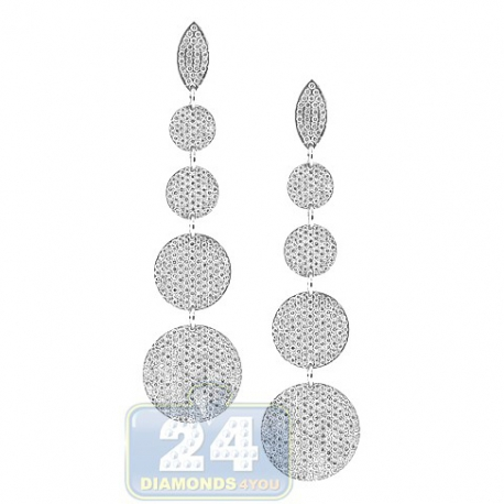 Womens Diamond Graduated Circle Dangle Earrings 18K White Gold