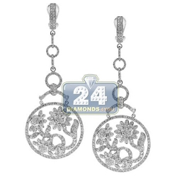 14K White Gold 5.88 ct Diamond Womens Flower Dangle Earrings