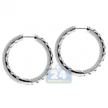 Womens Diamond Pave Round Hoop Earrings 14K White Gold 4.21 ct